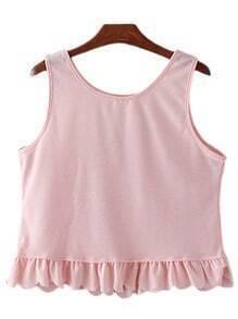 Pink Round Neck Ruffle Hem Sleeveless T-shirt