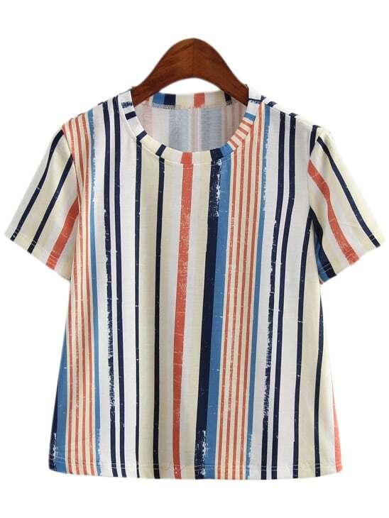 Multicolor Vertical Stripe Short Sleeve T-shirt -SheIn ...