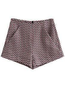Multicolor Pockets Zipper Back Houndstooth Shorts