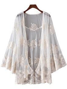 White Bell Sleeve Embroidery Lace Sunscreen Cardigan Outerwear