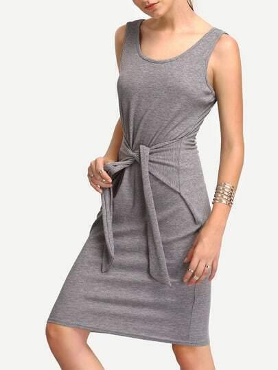 Grey Self-tie Scoop Neck Pencil Dress