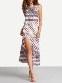 Open Back Print Split Beach Dress