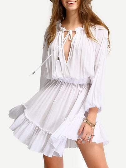 White Deep V Neck Lantern Sleeve Ruffle Lace Up Dress