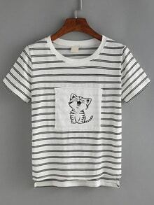Striped Cat Print Patchwork T-shirt