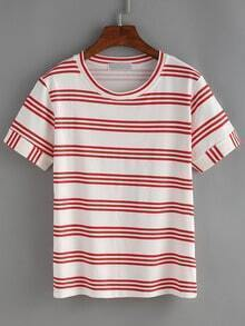 Red Strip Roll Sleeve T-shirt