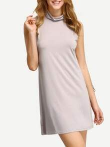 Grey High Neck Tank Dress