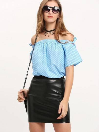 Blue White Striped Off The Shoulder Tie Blouse