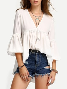 Lantern Sleeve Pleated Smock Swing Blouse