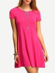 Hot Pink Short Sleeve Casual Shift Dress