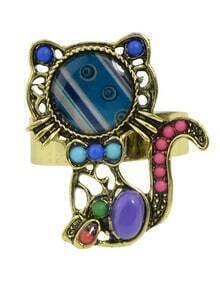 Purple Beads Cute Cat Shape Rings