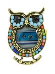 Blue Beads Adjustable Owl Rings