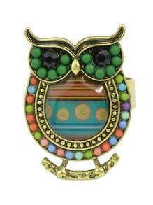 Green Beads Adjustable Owl Rings
