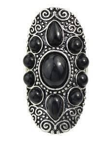 Black Gemstone Women Metal Ring