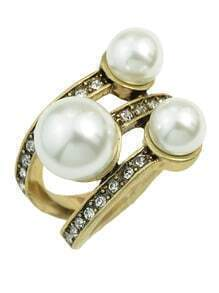 Gold Plated Three Pearl Ring