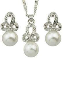 Pearl Necklace Earrings Jewelry Set