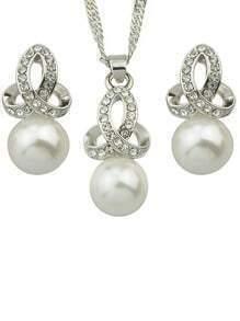 Pearl Necklace Earrings Jewelry Set