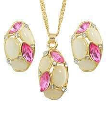 Hotpink Rhinestone Necklace And Earrings Set