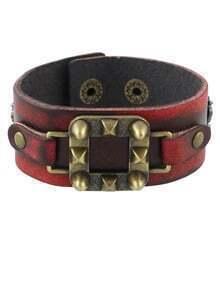Adjustable Wide Pu Leather Bracelet