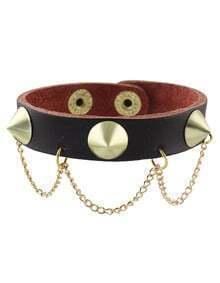 Coffee Punk Spike Leather Wrap Bracelet