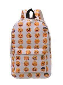 Allover Emoticons Print Canvas Backpack