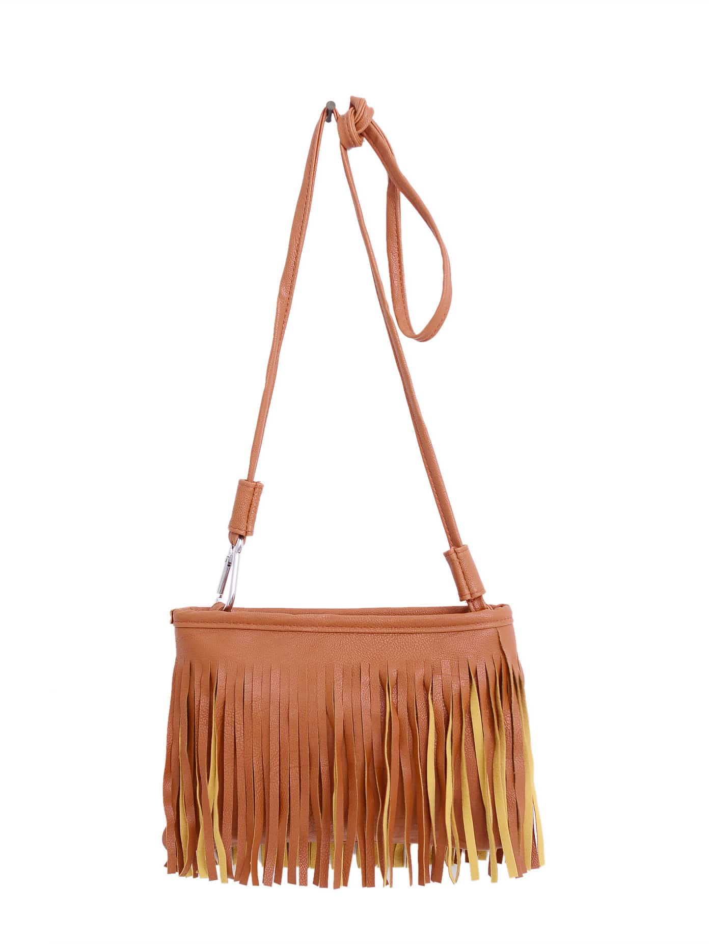 faux leather tassel crossbody bag brown shein sheinside