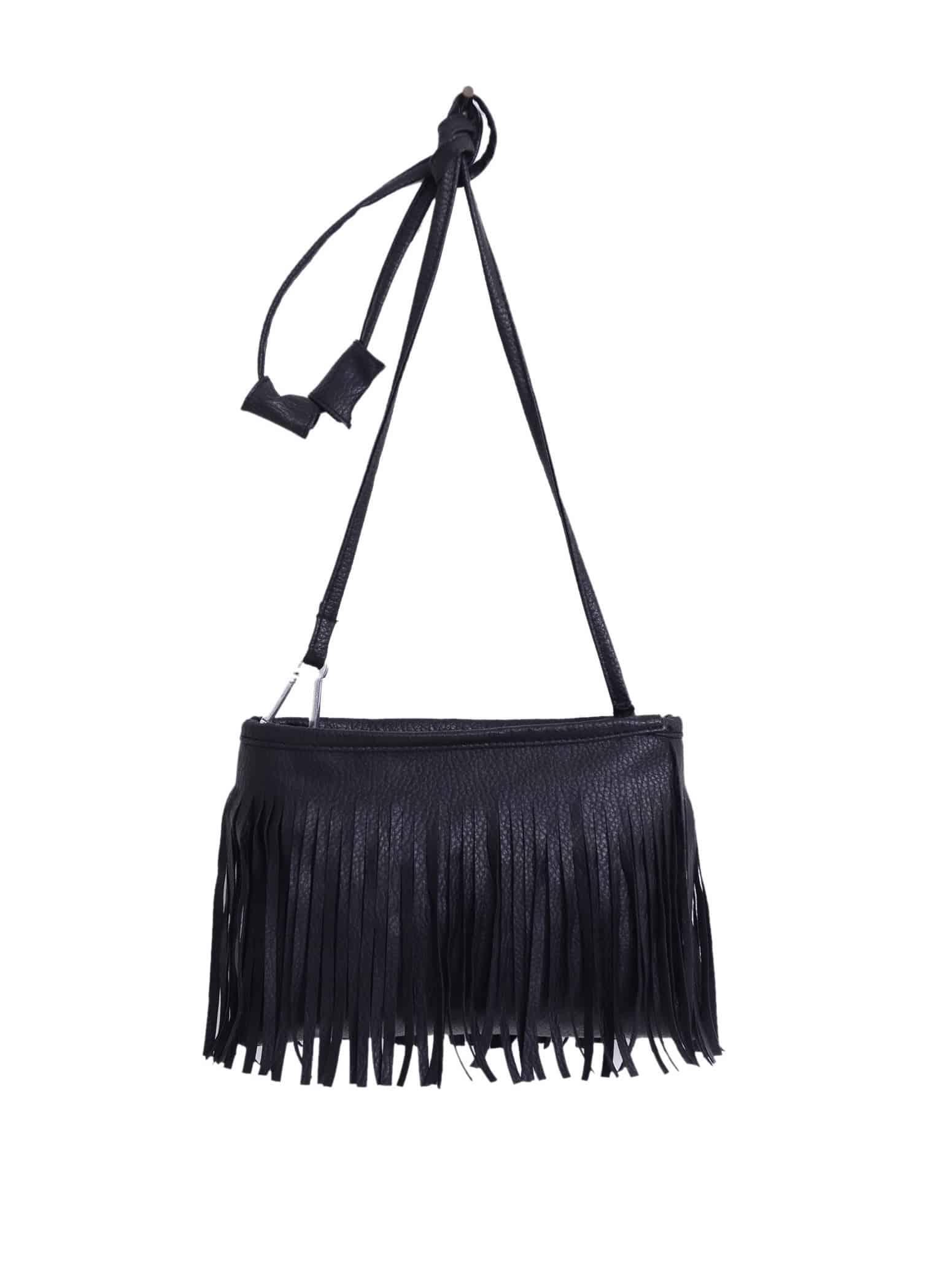Faux Leather Tassel Crossbody Bag – Black