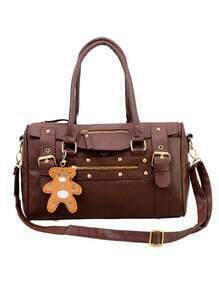 Buckle Strap Bowler Bag With Bear Charm - Brown
