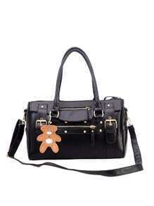 Buckle Strap Bowler Bag With Bear Charm - Black