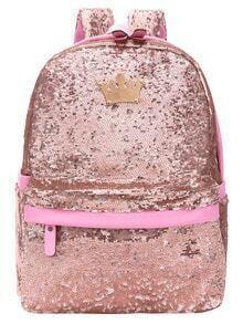 Pink Sequin Crown Embellished Backpack