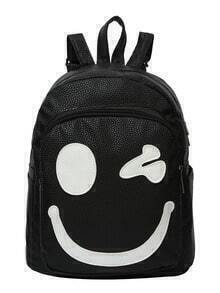 Faux Embossed Leather Wink Backpack
