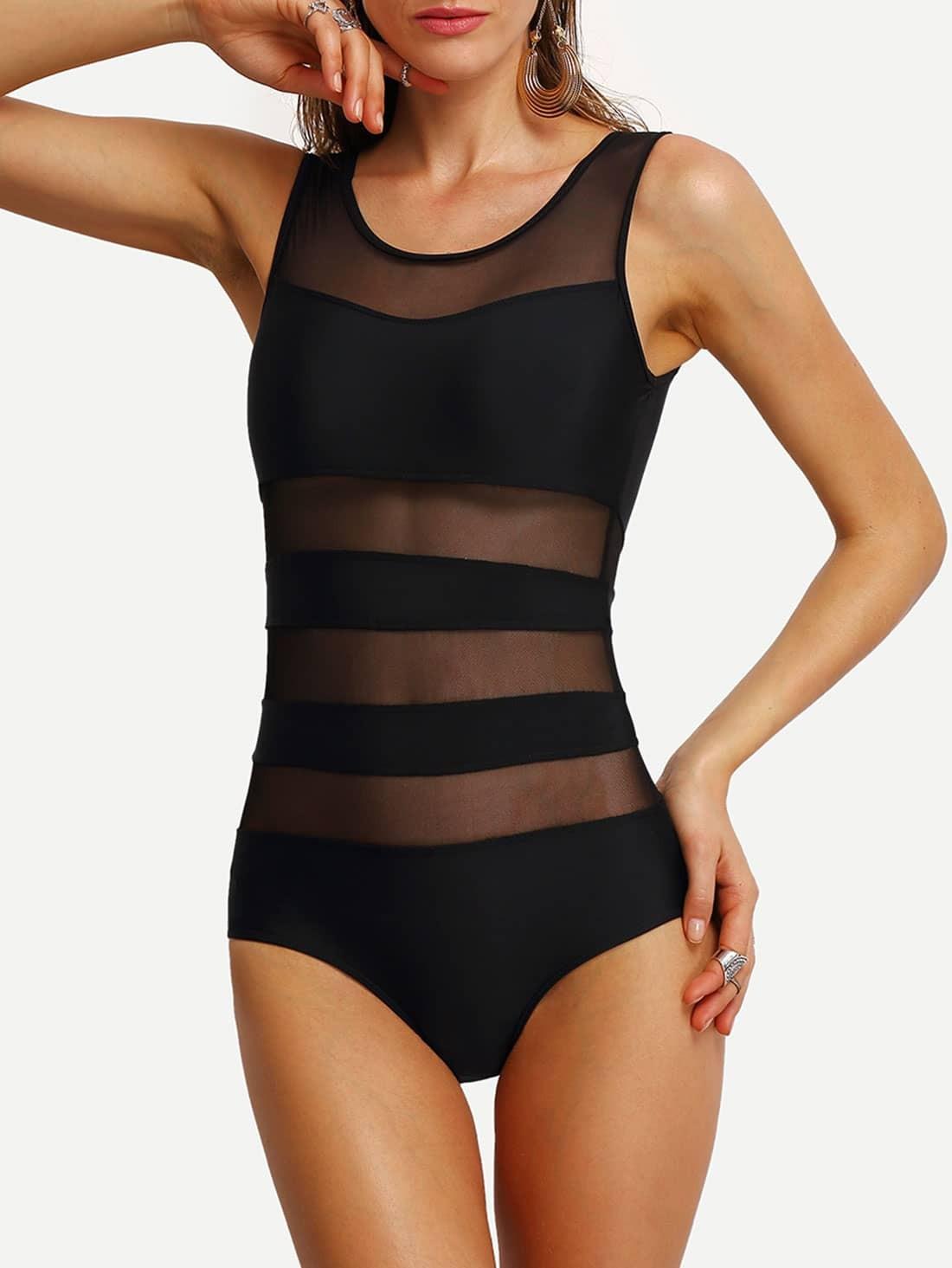 Фото Mesh Panel Insert One-Piece Swimwear. Купить с доставкой