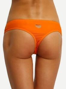 Heart Cutout Low-Rise Bikini Bottom - Orange
