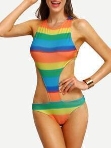Colorful Stripe Cutout Crisscross One-Piece Swimwear