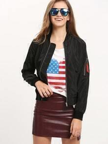 Black Collarless Zipper Jacket