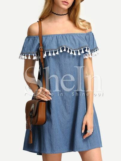 Blue Denim Off The Shoulder Tassel Shift Dress