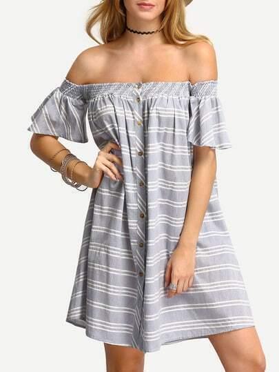 Light Blue Striped Off The Shoulder Shift Dress