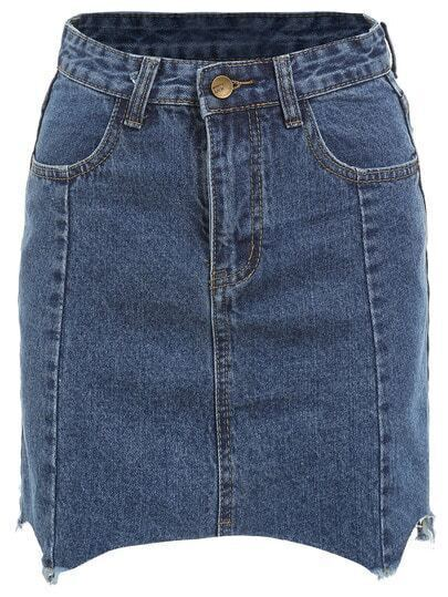 Blue Frayed Denim Skirt With Pockets