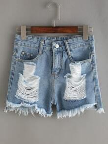 Blue Distressed Frayed Denim Shorts