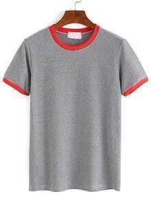Grey Contrast Striped T-Shirt