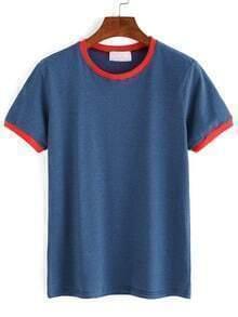 Royal Blue Contrast Striped T-Shirt