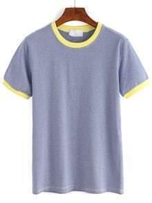 Blue Contrast Striped T-Shirt