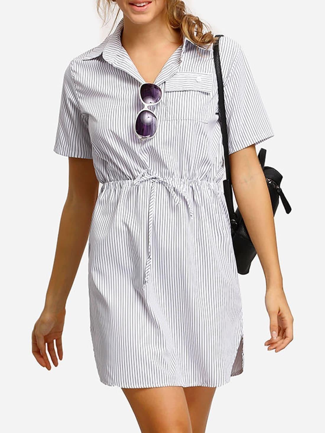 White vertical striped split shirt dress shein sheinside for Vertical striped dress shirt