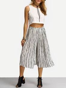 Vertical Striped Wide Leg Chiffon Pant