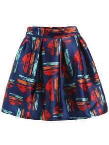 Multicolor Print Zipper A-Line Skirt