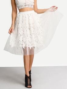 White Elastic Waist Mesh Skirt