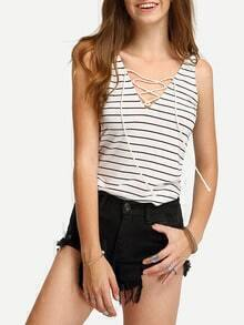 V Neck Striped Lace Up Tank Top
