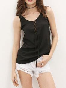 Black Lace Up Keyhole Tank Top