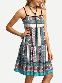 Spaghetti Strap Drop Waist Print Dress