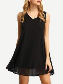 Black V Neck Chiffon Dress