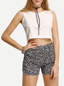 White Crop Tank Top With Elastic Waist Print Shorts